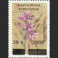 """Пробная надпечатка на марке из серии """"Флора Киргизии"""""""